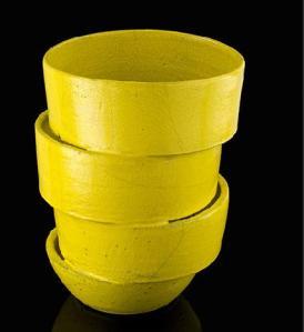 vaso giallo raku
